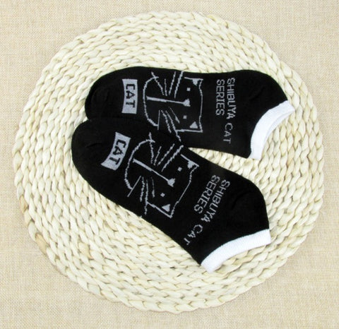 Image of CAT Warm comfortable cotton bamboo fiber girl women's socks ankle low female invisible color girl boy hosier 1pair=2pcs