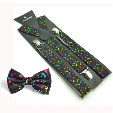 Image of Novelty Music Note Suspender and Bowtie Set Y-Shape Braces Butterfly Sets Office Casual Bowtie Set