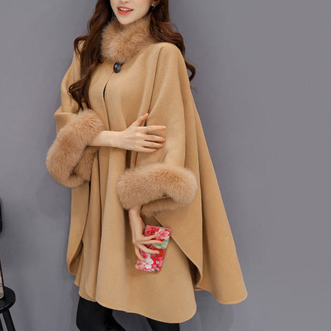 Image of Fashion Women Jacket Casual Woollen Outwear Fur Collar Parka Cardigan Cloak Coat