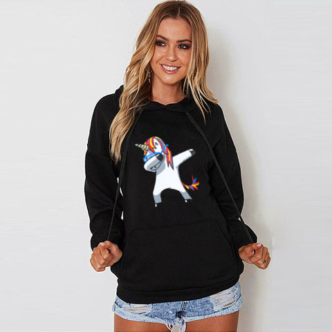Womens Long Sleeve Hooded Unicorn Print Hoodies Sweatshirt Pullover Tops