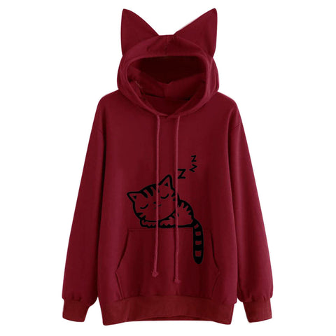 Image of Womens Cat Long Sleeve Hoodie Sweatshirt Hooded Pullover Tops Blouse
