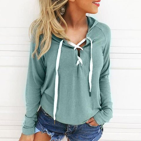 Image of Womens Hoodie Sweatshirt Lace Up Long Sleeve Crop Top Coat Sports Pullover Tops