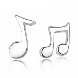 Womens Music Note Silver Color Stud Earrings