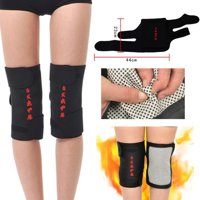 2 Pcs Tourmaline Health Care Magnetic Therapy Self-heating Knee Pads Professional Knee Support Protection Fitness Running Supply