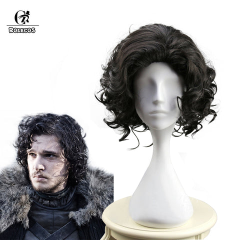 Image of Game of Thrones Cosplay Headwear Jon Snow Cosplay Headwear Halloween Black Curly Synthetic Hair Short 35cm / 13.78 inch