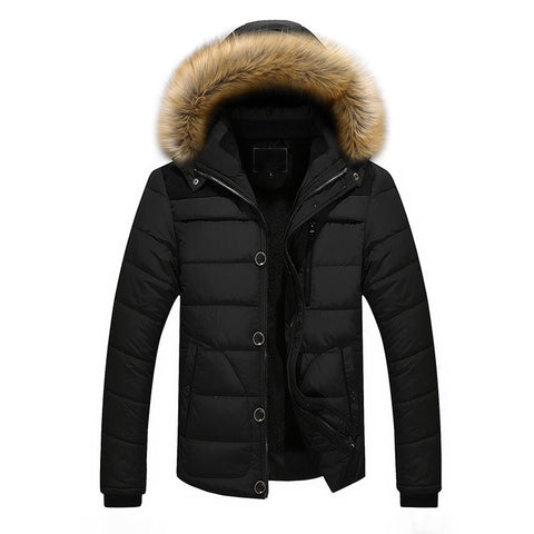 Mens Outdoor Warm Winter Thick Jacket Plus Fur Hooded Coat Jacket