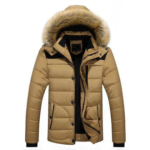 Image of Mens Outdoor Warm Winter Thick Jacket Plus Fur Hooded Coat Jacket