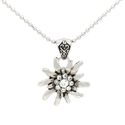 Image of German Drindle Silver Rhinestone Flower Necklaces Oktoberfest Trachten Austrian Edelweiss Necklace for Ladies