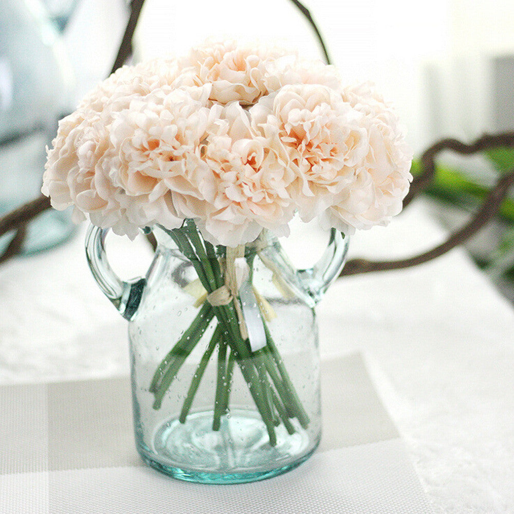 Artificial Silk Fake Flowers Peony Floral Wedding Bouquet Bridal Hydrangea Decor