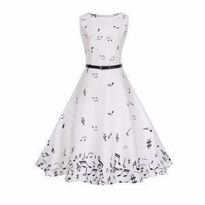Women  Music Notes Retro Vintage Dress
