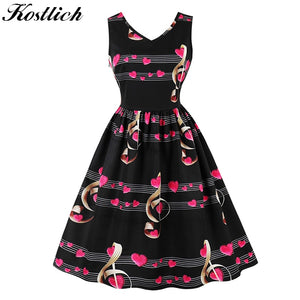 Kostlich Musical Note Print Women Summer Dress 2018 V-Neck Sleeveless Hepburn 50s Vintage Dress Elegant Party Dresses Plus Size