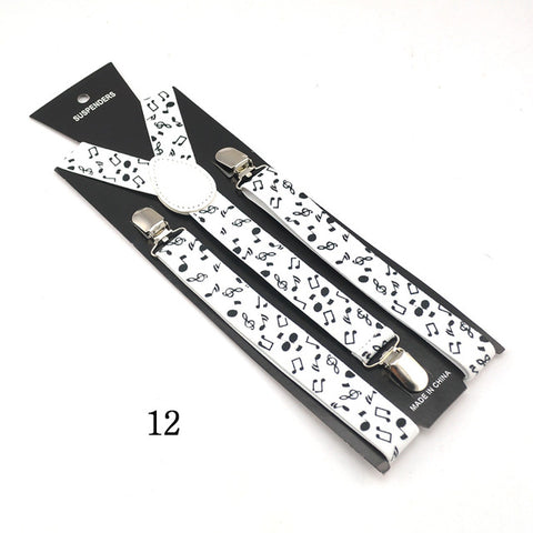 "2.5cm wide Fashion 13""Novelty Music"" Design Mix Unisex Clip-on Braces Elastic Slim Suspender Y-back Suspenders"