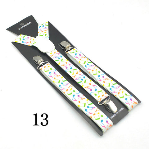 "Image of 2.5cm wide Fashion 13""Novelty Music"" Design Mix Unisex Clip-on Braces Elastic Slim Suspender Y-back Suspenders"