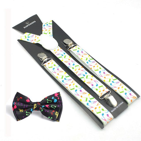 Novelty Music Note Suspender and Bowtie Set Y-Shape Braces Butterfly Sets Office Casual Bowtie Set