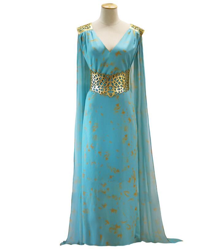 Game of Thrones Cosplay Daenerys Targaryen Wedding Dress Costume Halloween party long Blue Dress