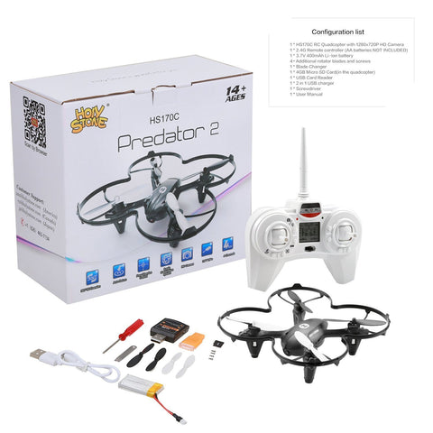 Image of Holy Stone HS170C Predator 2 Mini RC Quadcopter Drone with HD Camera 2.4Ghz 4 CH 6 Axis Gyro Helicopter,Color Black