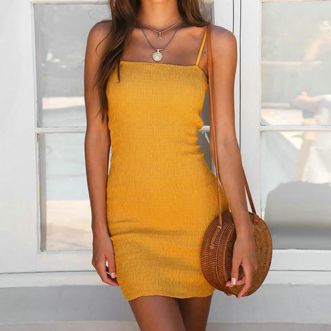 Image of Womens Yellow Slash Neck Dress  Spaghetti Strap Bra Hem Stitching Slim Nightclub Party Dress Beach Dress