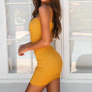 Womens Yellow Slash Neck Dress  Spaghetti Strap Bra Hem Stitching Slim Nightclub Party Dress Beach Dress
