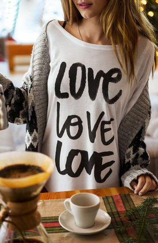 Womens Love Print Long Sleeve Sweatshirt Pullover Tops Blouse T Shirt Tee