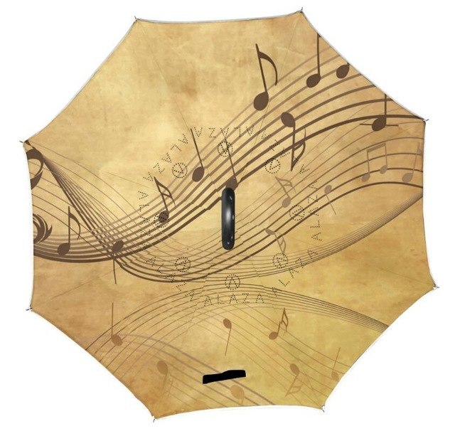 C-hook Reverse Umbrella Musical Note Printed Reverse Umbrellas Double Layer Inverted Paraguas Self Stand Umbrella for Women/ Men