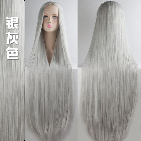 100cm Long Wigs high temperature fiber Synthetic Wigs Costume Cosplay  Party Wigs 20 color
