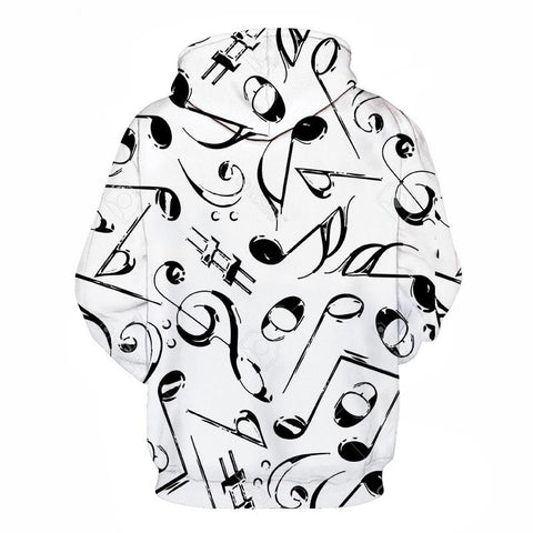 Cool sweatshirt Hoodies for  Men  & Women 3D print black and white Note music Loose hot Style Streetwear sleeve clothes