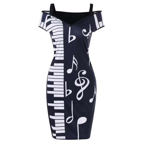 Music Note Print Strapless V-neck Short Sleeve Dress.