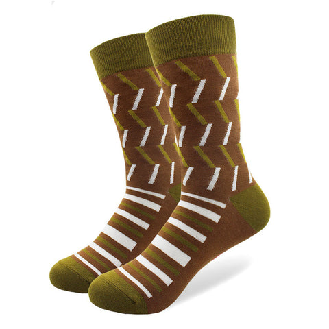 Image of 29 Patterns Men's Funny Combed Cotton Happy Socks Colorful Multi Pattern Long Tube Skateboard Casual Socks for Men