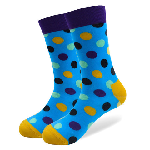 1 Pair Male Cotton Socks Colorful Striped Jacquard Art Socks Multi Pattern Long Happy Funny Skateboard Socks Men's Dress Sock