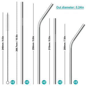 Stainless Steel Drinking Straws, Set of 8, Cleaning Brush and Waterproof Bag Included