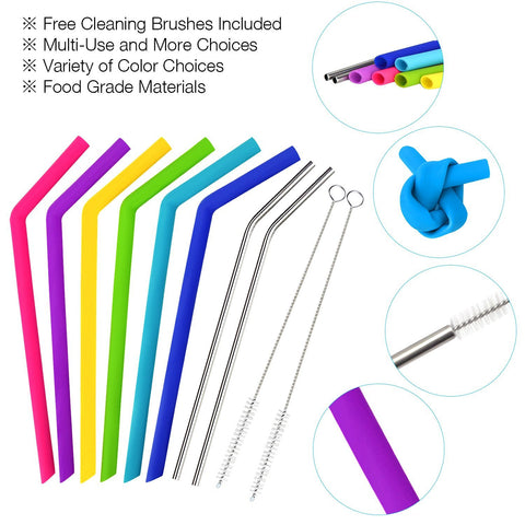 Reusable Straws Set 6 PCS Silicone Straws for 30 oz Yeti Tumbler/Rtic Straws, 2 PCS Extra Long Metal Straws and 2 Cleaning Brushes