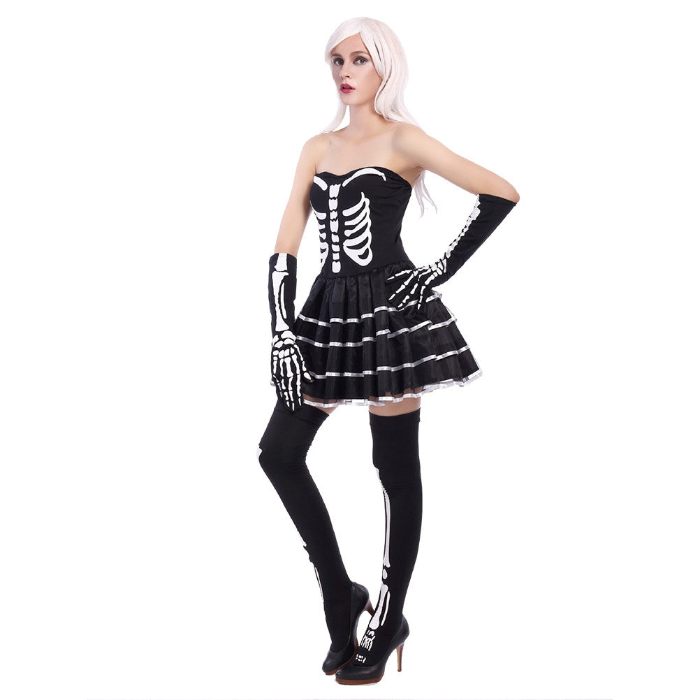 Halloween Horrific Skull Pattern Costume Adult Cosplay Costume Set
