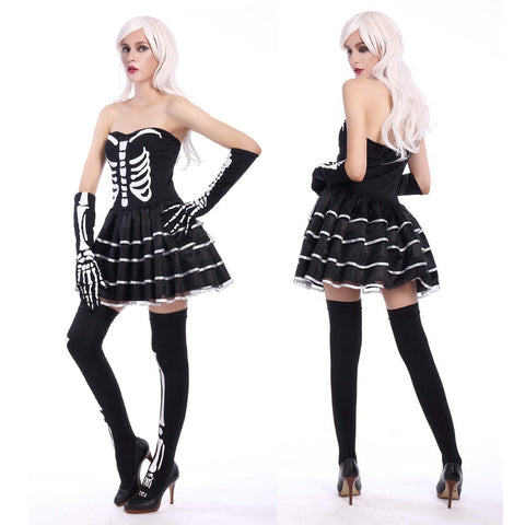 Image of Halloween Horrific Skull Pattern Costume Adult Cosplay Costume Set