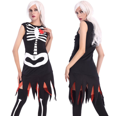 Image of Halloween Horrific Skull Pattern Costume Adult Ghost Cosplay Costume Set