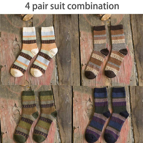 4pairs/lot Funny Colorful Men Socks Vintage Striped Totem  Wool Blend Warm Winter Socks Men Suit Business Socks