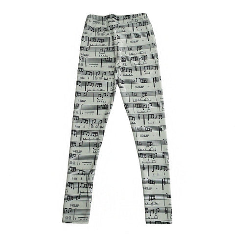 Image of Casual Pants Music Notes Pattern Women Leggings 7 sizes