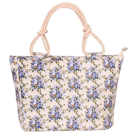 Image of 2018 Fashion Folding Women Big Size Handbag Tote Ladies Casual Flower Printing Canvas Graffiti Shoulder Bag Beach Bolsa Feminina