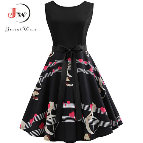 Womens Casual Music Note Print Hepburn Robe Retro Swing Vintage Dress