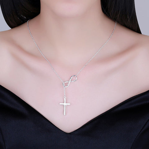 Image of Infinity Cross Jesus Necklace in 18K White Gold Plated