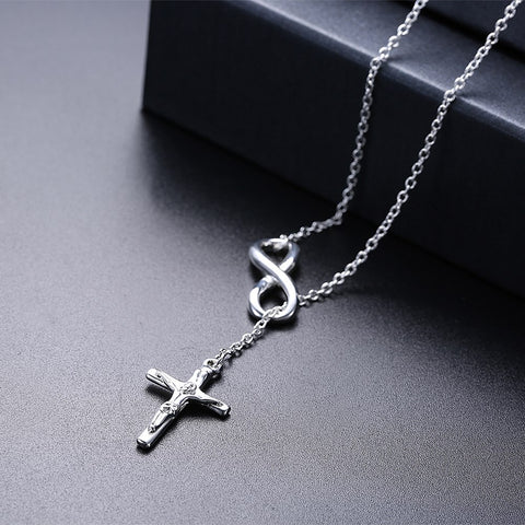 Infinity Cross Jesus Necklace in 18K White Gold Plated