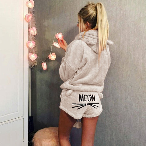Image of Women Coral Velvet Suit Two Piece Autumn Winter Pajamas Warm Sleepwear Cute Cat Meow Pattern Hoodies Shorts Set VANGULL 2018 New