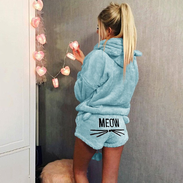 Women Coral Velvet Suit Two Piece Autumn Winter Pajamas Warm Sleepwear Cute Cat Meow Pattern Hoodies Shorts Set VANGULL 2018 New