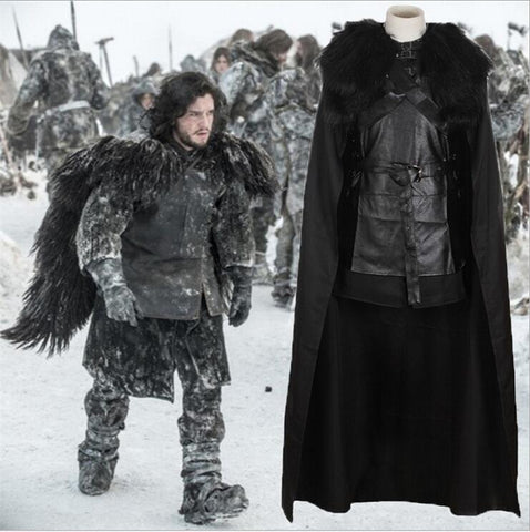 Image of Game of Thrones Costume Jon Snow Costume Outfit With Coat Halloween Clothing Ault Men Cosplay Costume Full Set Exotic Apparel