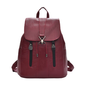 Woman Fashion Leather Backpack Female Mochila Large Capacity School Bag