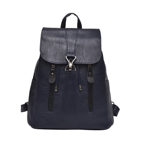 Image of Woman Fashion Leather Backpack Female Mochila Large Capacity School Bag