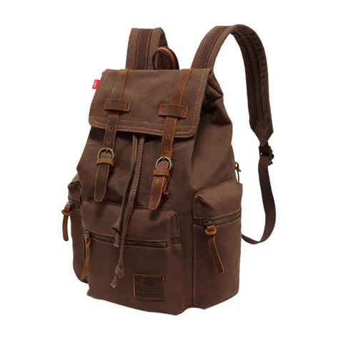 Image of Vintage Canvas Leather Backpack Hiking Daypacks Computers Laptop