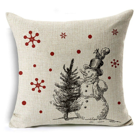 Let It Snow Xmas Style Cushion Cover Merry Christmas! Santa Claus Socks Balloon Home Decorative Pillows Cover Nordic Gifts Owls