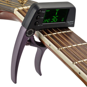 TCapo20 Multifunctional Aluminum Alloy 2-in-1 Guitar Capo Tuner with LCD Screen for Normal Acoustic Folk Electric Guitar Chromatic Bass