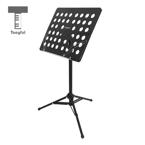 Image of Adjustable Alloy Tripod Music Stand Music Score Note Holder for Musician Concert Stage Accessory Black