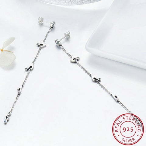 Musical Note Design Long Chain Sterling Silver Drop Earrings for Women Girls
